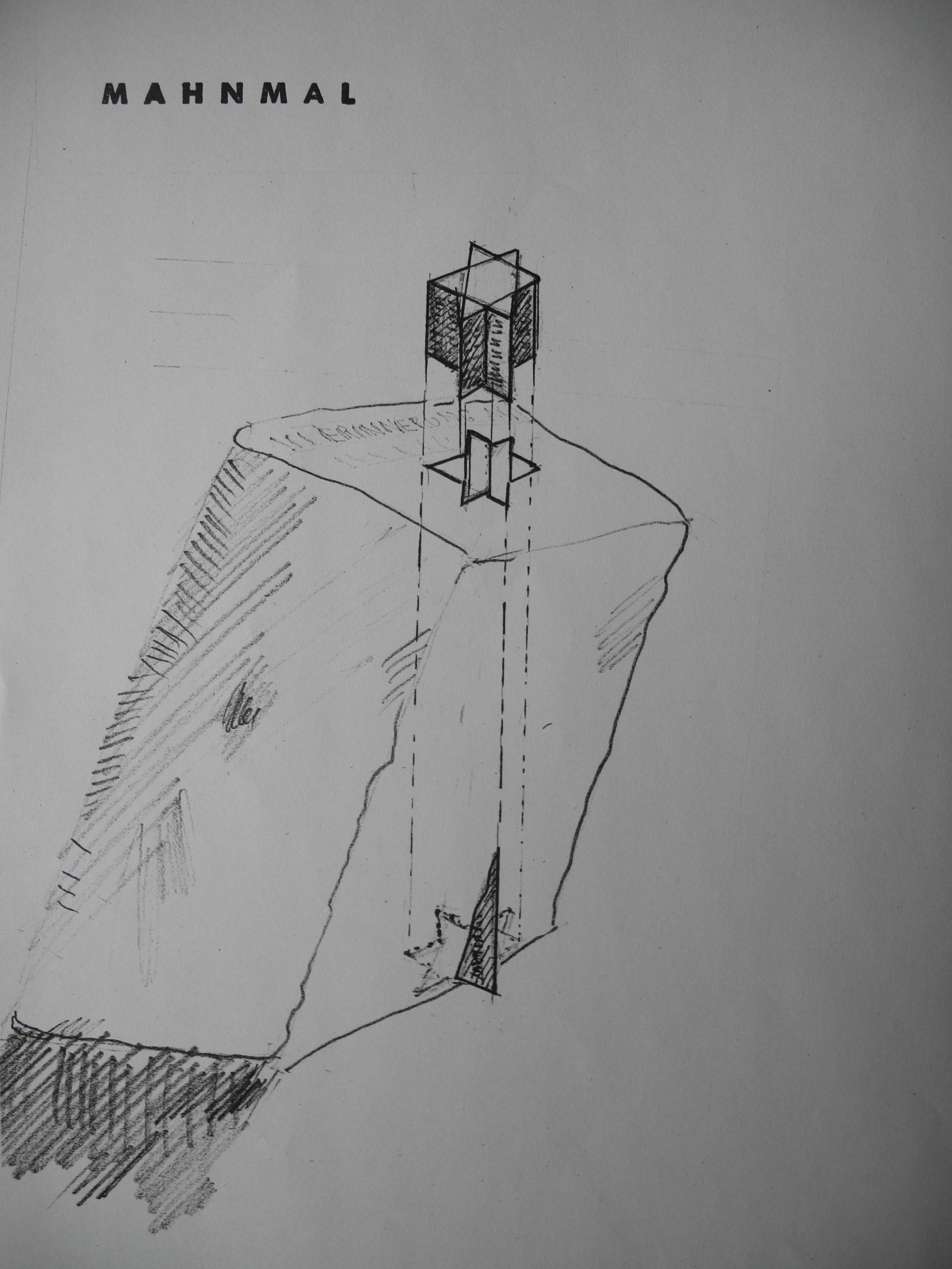 Mahnmal für die ermordeten jüdischen Bürger, Zeichnung, Herzogenrath, Rathausvorplatz, 2004